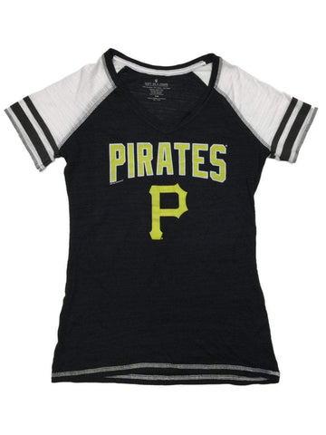 Pittsburgh Pirates SAAG WOMEN Black Jersey Style SS V-Neck T-Shirt