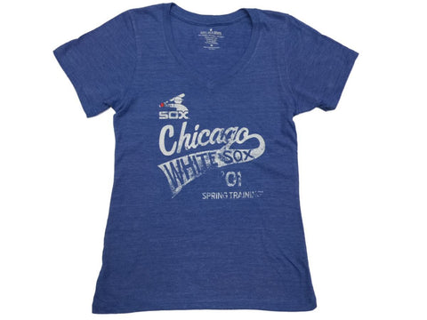 Chicago White Sox SAAG WOMENS Blue Faded Retro Logo SS V-Neck T-Shirt - Sporting Up