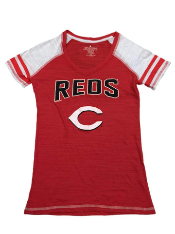 Cincinnati Reds SAAG WOMENS Red White Jersey Style Burnout V-Neck T-Shirt