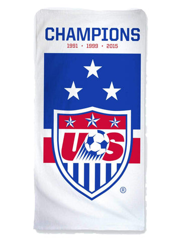 Shop United States USA Women's National Soccer Team 3-Time Champions Beach Towel