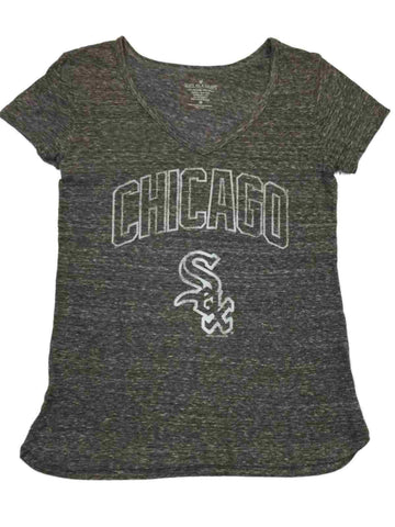 Chicago White Sox SAAG WOMEN Gray Vintage Logo Short Sleeve V-Neck T-Shirt