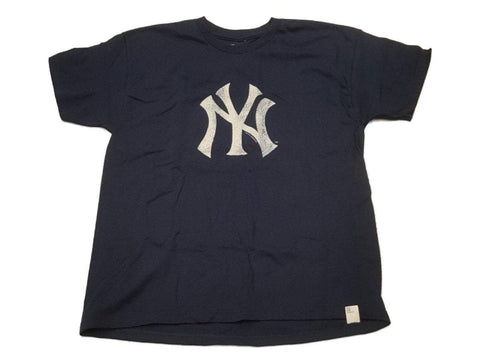 Shop New York Yankees SAAG YOUTH Navy Cracked Style Logo Crew Neck T-Shirt