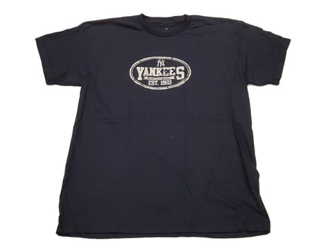 New York Yankees SAAG YOUTH Navy Faded Vintage Grunge Style Logo T-Shirt