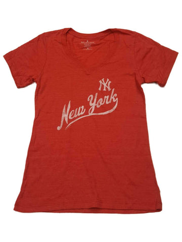 New York Yankees SAAG WOMENS Red Faded Logo Ultra Soft V-Neck T-Shirt