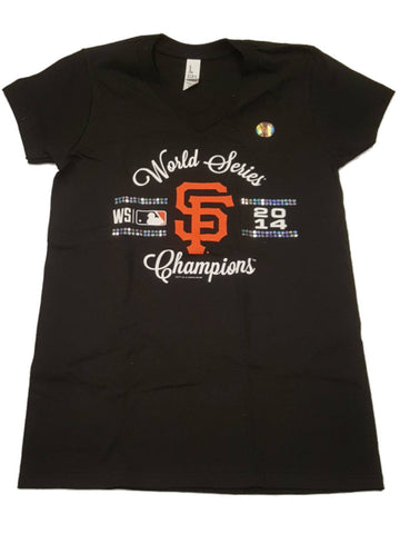 San Francisco Giants SAAG WOMEN 2014 World Series Sequin Logo V-Neck Shirt