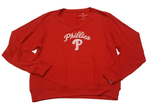 Shop Philadelphia Phillies SAAG WOMENS Red Ultra Soft Defect V-Neck Sweater - Sporting Up