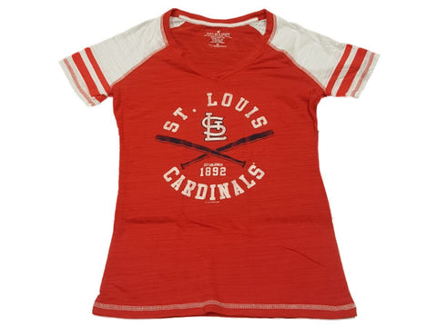 St. Louis Cardinals SAAG WOMENS Red Burnout Bat Logo Jersey Style V-Neck