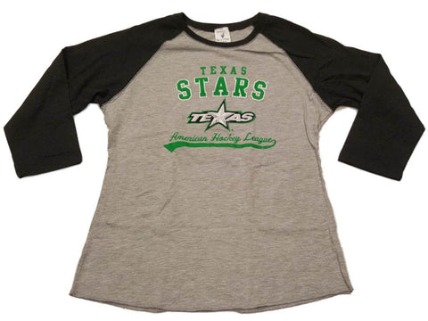 Dallas Stars SAAG WOMENS Two-Toned Gray 3/4 Sleeve Crew Neck T-Shirt