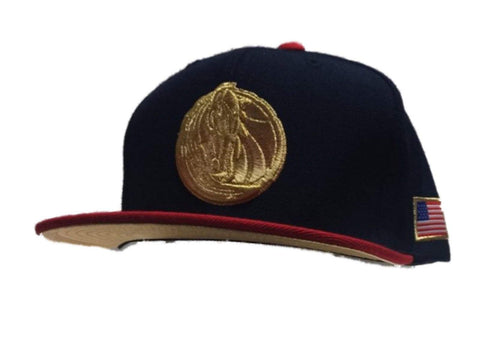 Dallas Mavericks Mitchell & Ness Navy Red & Gold Structured Flat Bill Hat Cap