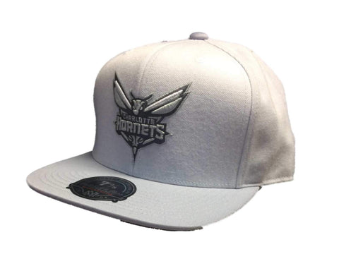 Charlotte Hornets Mitchell & Ness Gray Structured Fitted Flat Bill Hat Cap 7 3/8