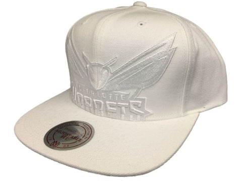Charlotte Hornets Mitchell & Ness All White Flat Bill Snapback Adjust Hat Cap