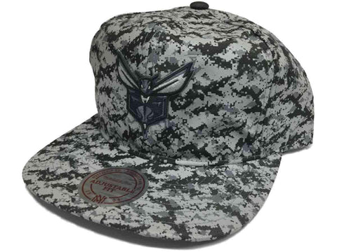 Shop Charlotte Hornets Mitchell & Ness Gray Digi Camo Snapback Flat Bill Hat Cap - Sporting Up
