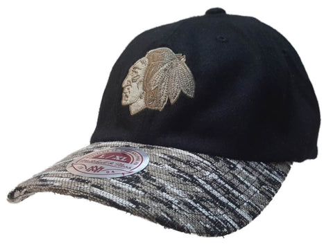 Shop Chicago Blackhawks Mitchell & Ness Black Gray Wool Style Slouch Hat Cap (L/XL)