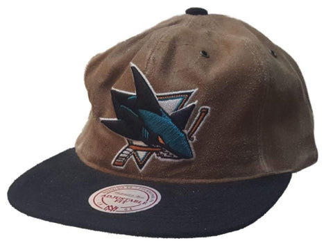 Shop San Jose Sharks Mitchell & Ness Brown Black Relaxed Leather Flat Bill Hat Cap - Sporting Up