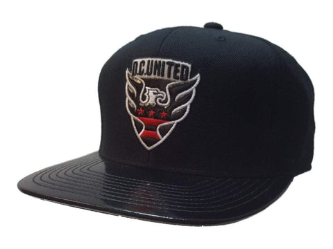 Shop D.C. United MLS Mitchell & Ness Black Structured Fitted Flat Bill Hat Cap 7 3/8