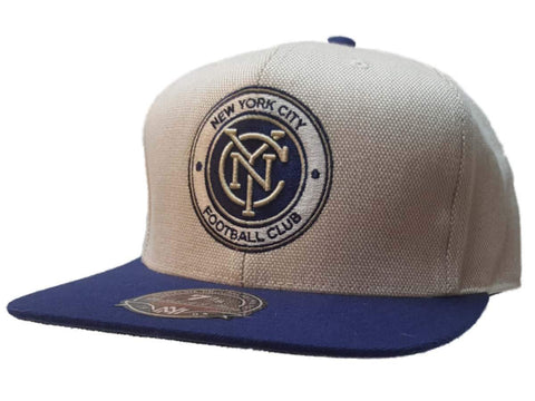 Shop New York City FC Mitchell & Ness Off-White Blue Flat Bill Fitted Hat Cap (7 3/8) - Sporting Up