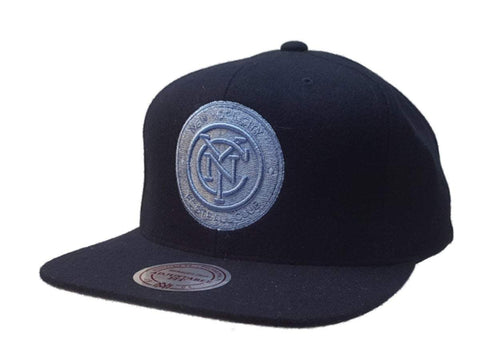 New York City FC Mitchell & Ness Navy Tri-Blend Flat Bill Snapback Hat Cap
