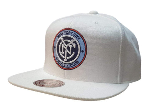 New York City FC Mitchell & Ness White Structured Adjustable Flat Bill Hat Cap