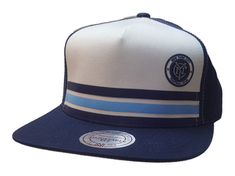 New York City FC Mitchell & Ness White Navy Adj. Trucker Style Flat Bill Hat Cap