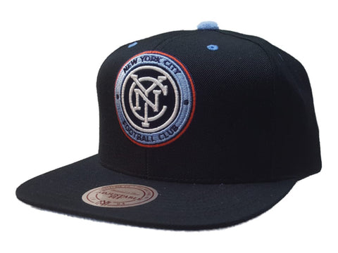 New York City FC Mitchell & Ness Black Velvet Flat Bill Snapback Hat Cap