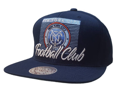 New York City FC Mitchell & Ness Navy Digital Logo Structured Adj Flat Bill Hat