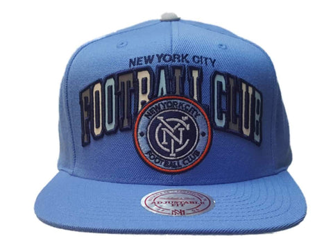 "New York City FC Mitchell & Ness Light Blue ""Football Club"" Adj. Flat Bill Hat"