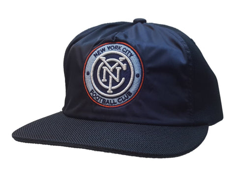 Shop New York City FC Mitchell & Ness Navy Nylon Adj Flat Bill Painter Style Hat - Sporting Up