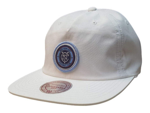 New York City FC Mitchell & Ness White Nylon Painter Style Flat Bill Adj Hat Cap