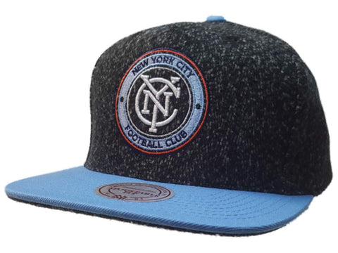 New York City FC Mitchell & Ness Gray Structured Adj. Flat Bill Snapback Hat