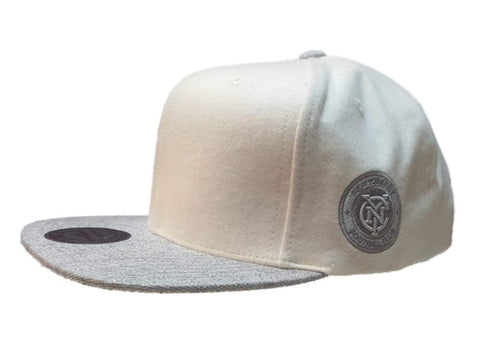 New York City FC Mitchell & Ness White & Gray Structured Adj. Flat Bill Hat Cap
