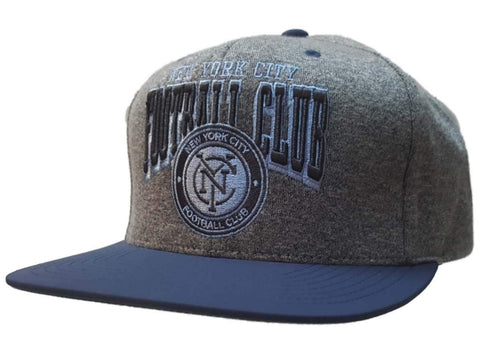 New York City FC Mitchell & Ness Gray Blue Structured Adj. Flat Bill Hat Cap