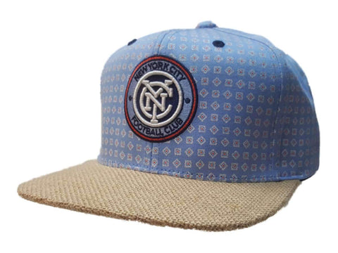 New York City FC Mitchell & Ness Blue Pattern Tweed Structured Flat Bill Hat