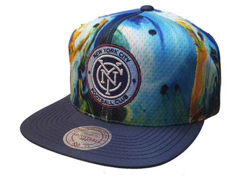 New York City FC Mitchell & Ness Tie-Dye Design Structured Adj. Flat Bill Hat