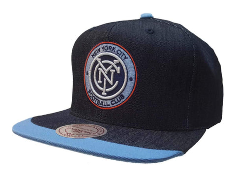 Shop New York City FC Mitchell & Ness Navy Denim Structured Adj. Flat Bill Hat Cap - Sporting Up