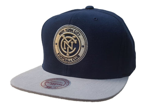 Shop New York City FC Mitchell & Ness Navy Gray Structured Adjustable Flat Bil Hat