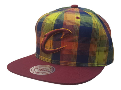 35368e2dc15 Cleveland Cavaliers Mitchell   Ness Structured Plaid Flat Bill Snapback Hat  ...