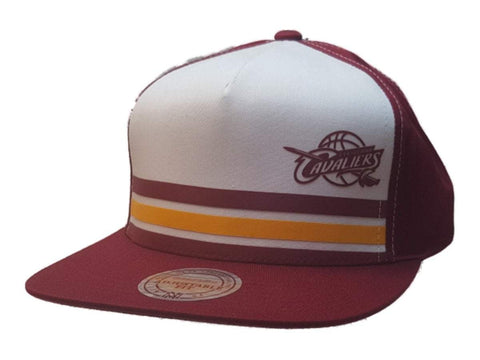 Shop Cleveland Cavaliers Mitchell & Ness White Maroon Flat Bill Snapback Hat Cap