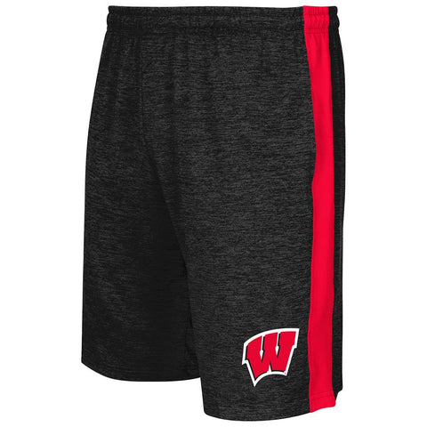 Shop Wisconsin Badgers Colosseum Charcoal Elastic Waistband Workout Basketball Shorts - Sporting Up
