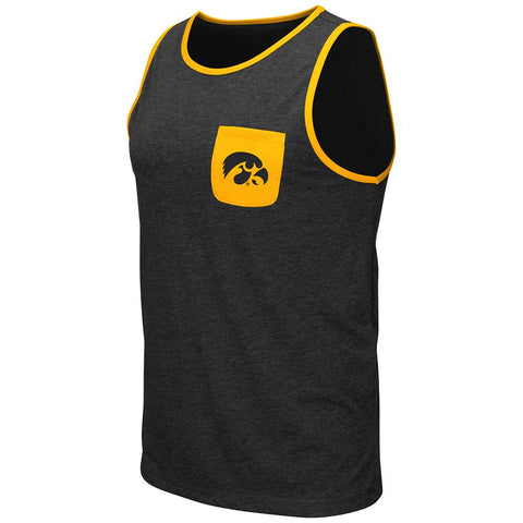 Shop Iowa Hawkeyes Colosseum Black Pocketed Lightweight Sleeveless Tank Top