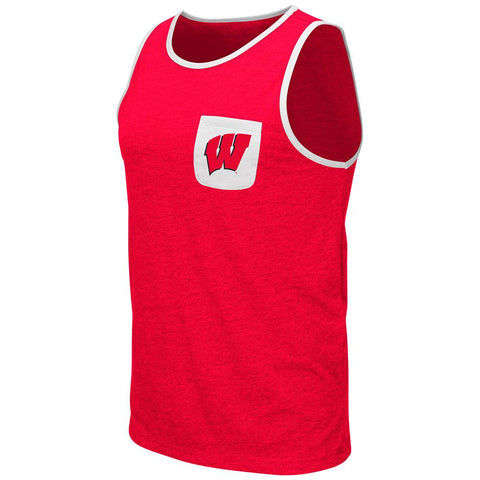 Shop Wisconsin Badgers Colosseum Red Pocketed Lightweight Sleeveless Tank Top