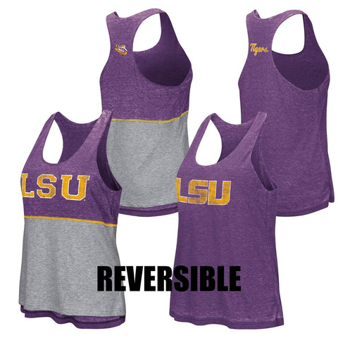 Shop LSU Tigers Colosseum WOMEN Purple Gray Reversible Racerback Retro Tank Top