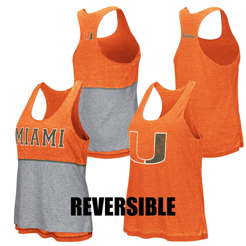 Shop Miami Hurricanes Colosseum WOMEN Orange Gray Reversible Racerback Tank Top - Sporting Up