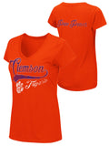 Clemson Tigers Colosseum WOMEN Orange Paw Power Short Sleeve V-Neck T-Shirt - Sporting Up