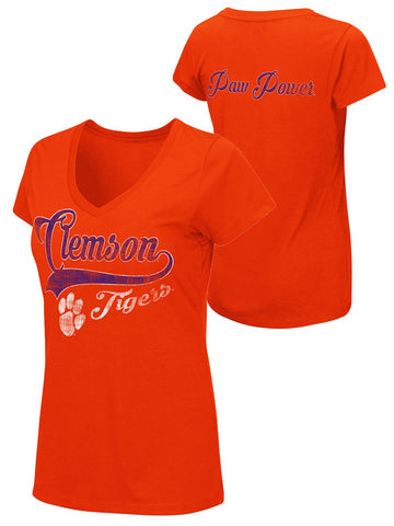 Shop Clemson Tigers Colosseum WOMEN Orange Paw Power Short Sleeve V-Neck T-Shirt - Sporting Up