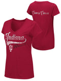 Indiana Hoosiers Colosseum WOMEN Red Cream & Crimson V-Neck T-Shirt