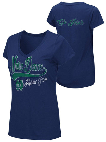 Shop Notre Dame Fighting Irish Colosseum WOMEN Navy Go Irish V-Neck T-Shirt