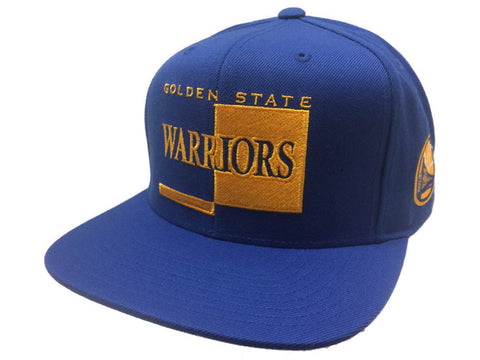 93ceed42c57 Golden State Warriors Mitchell   Ness Blue Adj. Snapback Flat Bill Hat Cap  ...