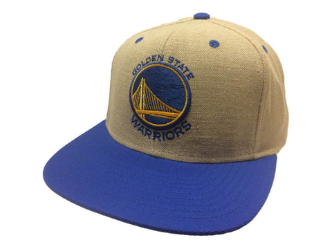Golden State Warriors Mitchell & Ness Tan & Blue Snapback Flat Bill Hat Cap