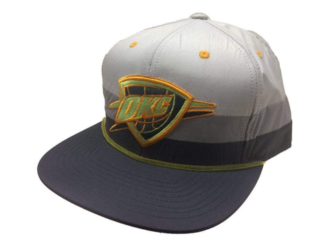 Oklahoma City Thunder Mitchell & Ness Gray Fitted Flat Bill Hat Cap (7 3/8)