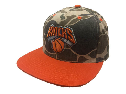 New York Knicks Mitchell & Ness Camo & Orange Adj. Snapback Flat Bill Hat Cap